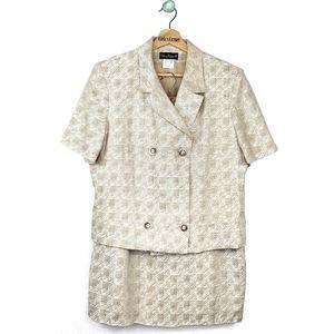 Harve Benard VTG Linen Skirt Suit Set Size 14